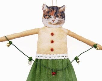 Country Christmas Cat Ornament - Spun Cotton Christmas Tree Ornament - Hostess Gift Under 50