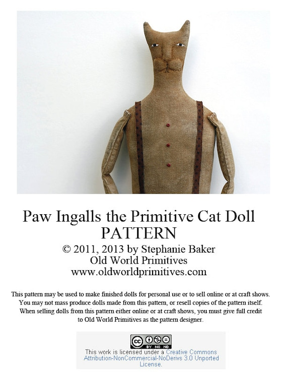 Primitive E Pattern Paw Ingalls The Primitive Cat Doll Pdf Etsy
