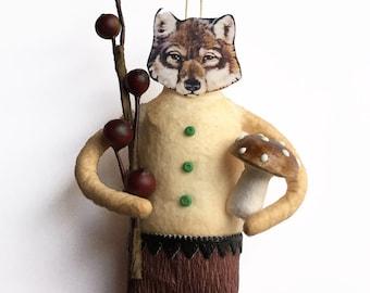 Wolf Feather Tree Ornament - Handmade Spun Cotton Ornament