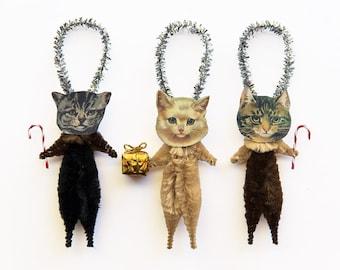 Cat Christmas Tree Ornaments - Stocking Stuffer Under 25 - Pet Lover Hostess Gift
