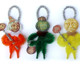 Halloween Decoration - Halloween Primitive Chenille Ornaments