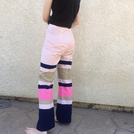 Vintage 60s polka dots stripe pants trousers pink
