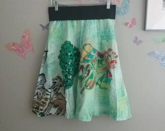 Vintage 50s reworked Mexican hand painted circle skirt