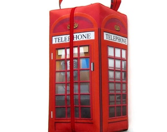 Large Boxy Bag Knitting Project Bag, British Telephone Box