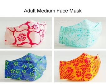 Adult Medium Face Mask, 4 Layer Mask,  Cotton Batik Mask, 3D Contoured Fitted Mask, Adjustable Mask, Washable Mask, Face Covering