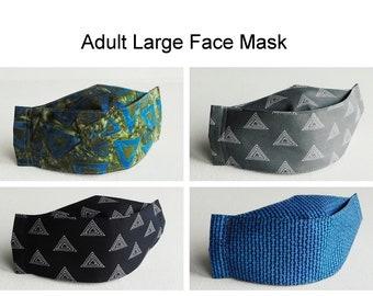 Adult Large Face Mask, 4 Layer Mask, Mask for Men,  3D Contoured Fitted Mask, Adjustable Elastic Mask, Washable Mask, Face Covering
