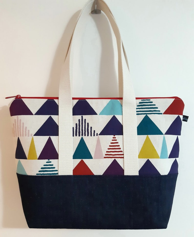 Zippered Tote Bag Canvas and Denim