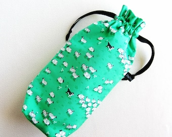 Spindle Bag, Padded Drawstring Bag - Sheep and Sheep Dogs on green fields