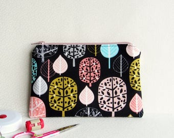 Small Zippered Notions Pouch - Acorn Forest