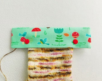 Knitting Needle Keeper DPN Cozy for 6 inch needles - Mushrooms Patch