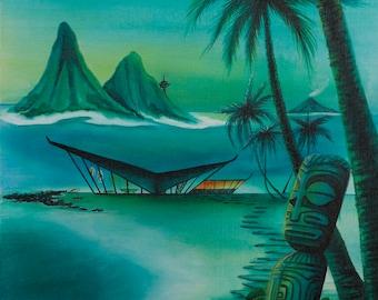 Dawn of Marquesan Modern giclee canvas print Dawn Frasier  tiki art