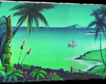 Canvas Print Moodxotica lagoonscape  2017 No 1   Dawn Frasier