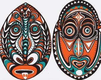 Tiki part favor, garland, PNG faces