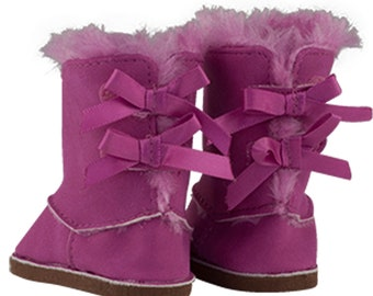 Lavender Suede  Pom Pom Boots 18 in Doll Clothes Fits American Girl