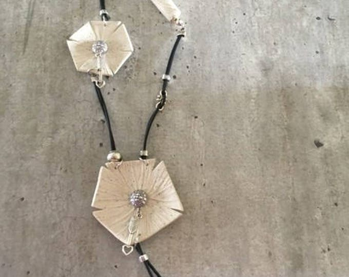 "Necklace with pendant ""Acoma"" - new collection polymer clay"