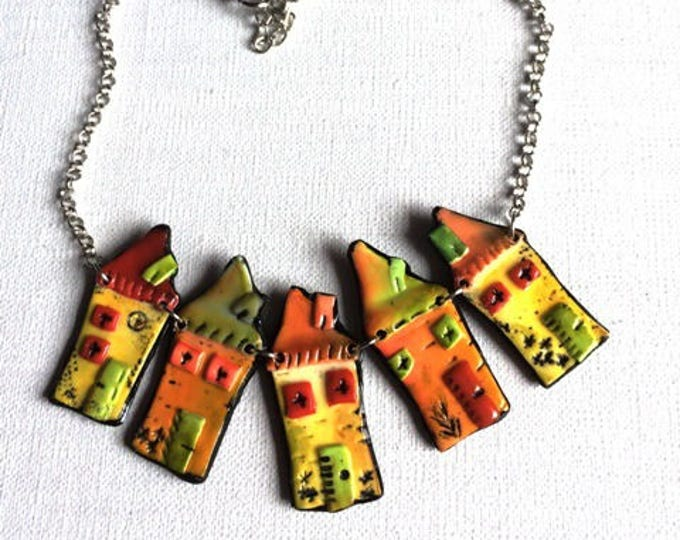 Polymer clay necklace - Home sweet Home