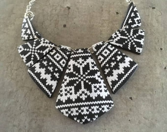 polymer clay necklace with knitted pattern - new