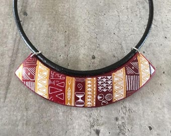 Polymer clay necklace - torque with aztec print