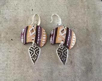 earrings - peruvian style yellow / burgundi - new collection