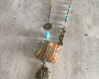 long polymer clay necklace - rain in blue
