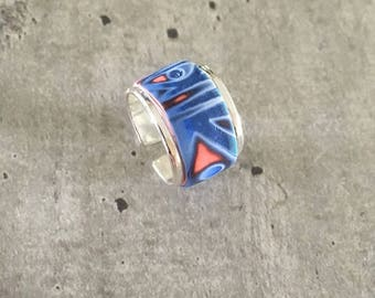 Ring with polymer clay pattern