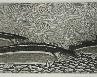 Fly Fishing - Phalanx -  Original etching