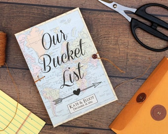 Bucket List Journal, Personalized Wedding Anniversary or Retirement Gift