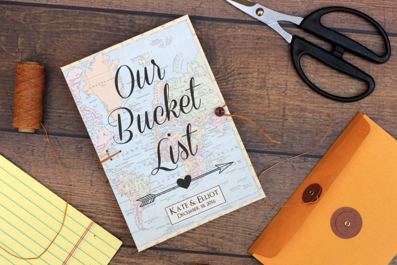 Bucket List Journal Personalized Wedding Anniversary or image 0