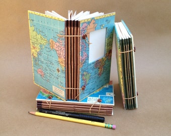 Midsize Expandable Travel Journal, Smash Book or Art Journal with Custom Map, Pockets and Envelopes, Scrapbook, Notebook