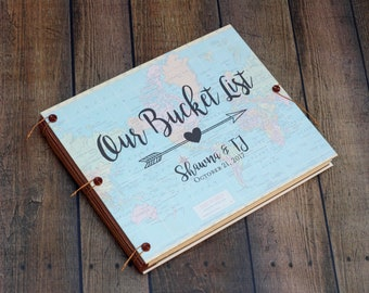 Our Bucket List Scrapbook or Photo Album, Wedding Guest Book,  Traveler Gift, Custom Map, Personalized and custom made for you