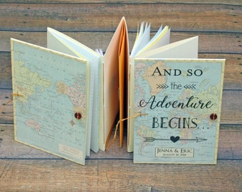 And So the Adventure Begins Travel Notebook, Travel Theme Bridal Shower Gift, Honeymoon Journal, Personalized with name, date & custom map