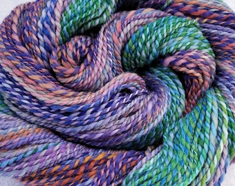 Handspun yarn, BLUE DOUBLE GRADIENT, wool yarn slowly fades from greens to lavender apricot