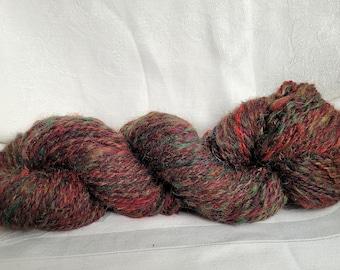 TARTAN, handspun wool blend chunky yarn, multicolored, variegated--6 skeins, 792 total yards