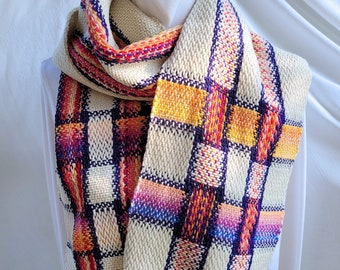 Handwoven SCARF, made with handspun and commercial wool yarns