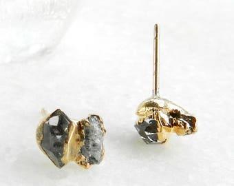 diamond earrings, raw diamond earrings, herkimer diamond earrings, herkimer diamond, druzy diamond