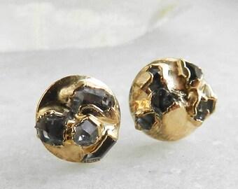 herkimer diamond studs, diamond earrings, herkimer diamond, gold stud earrings, electroformed, gifts for her