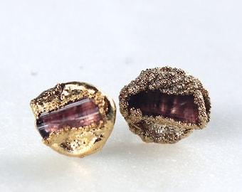 pink tourmaline earrings, tourmaline studs, raw tourmaline earrings, october birthstone, gold earrings, gold studs