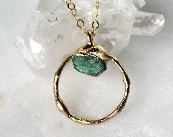 emerald necklace, raw emerald necklace, emerald pendant, raw stone necklace, green stone necklace, may birthstone