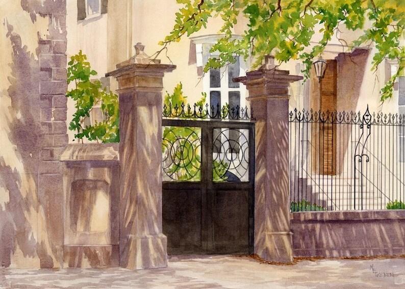 Charleston Gate Charleston SC Print Charleston Watercolor image 1