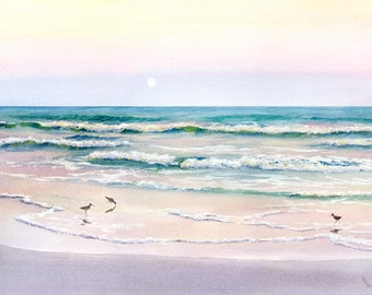 Moonrise Giclee of beach with sandpipers