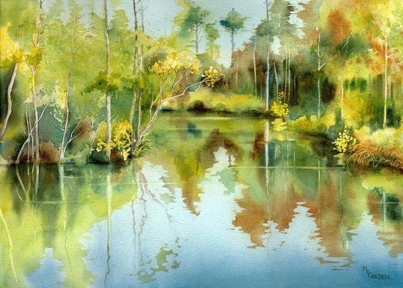 Tranquil Waters with trees reflecting giclee print image 1