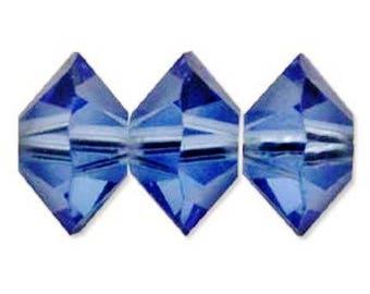 44 Swarovski Crystal 5mm Spacer Beads 5305 (Sapphire) (44 pieces)