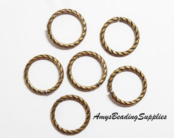 6 Antique Gold Etched 16mm Round Jump Rings 13 Gauge by Trinity Brass Co  (JR108-AG)