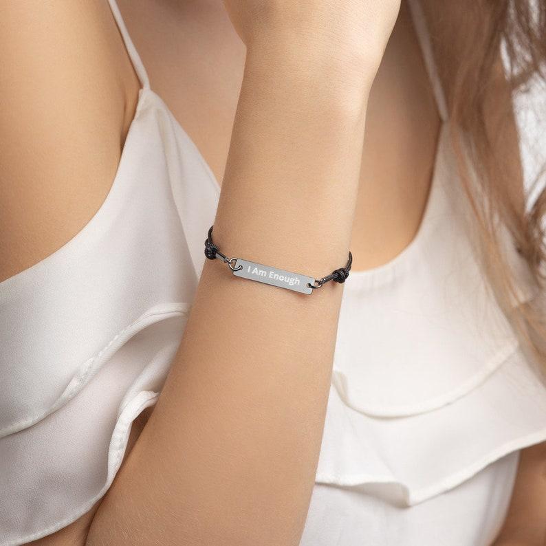 I Am Enough Engraved Bar String Bracelet Rose Gold Gold image 0