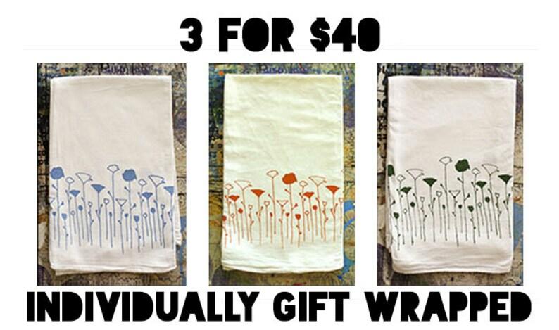 Poppy Tea Towel Set of 3 Flour sack Hostess Gift image 0