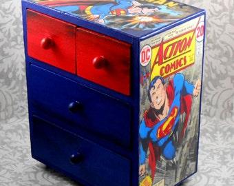 Custom Superman Red and Blue Stash Jewelry Box