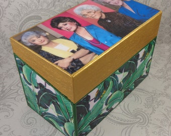 Custom Golden Girls Inspired Palm Leaf Recipe Box