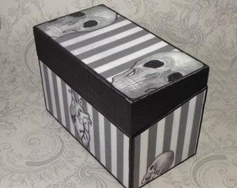 Skull Anatomical Heart Black and White Stripe Recipe Box