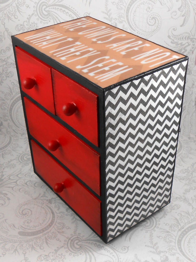 Custom Twin Peaks inspired Black Lodge Stash Jewelry Box image 0