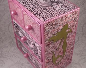 Mermaid Metallic Pink and Gold Stash Jewelry Box